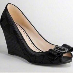 Womens Coach Andi Black Wedge Shoes Sz 7.5